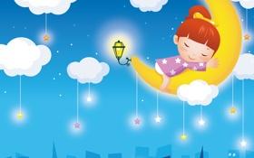 Картинка звезды, облака, город, фантазия, сон, месяц, фонарик