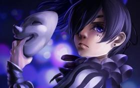 Картинка мальчик, маска, арт, kuroshitsuji, темный дворецкий, ciel phantomhive