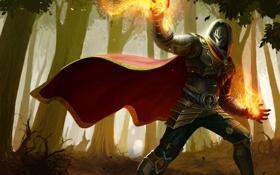 Картинка огонь, магия, арт, капюшон, парень, доспех, Arena of Heroes