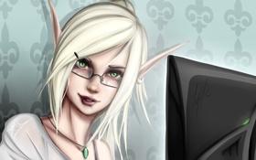 Обои девушка, лицо, эльф, очки, монитор