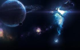 Обои космос, луна, планета, астероиды, звездолеты