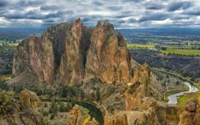 Картинка небо, облака, скала, река, гора, долина