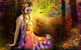 Картинка осень, листья, девушка, деревья, цветы, птицы, ресницы