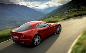 Обои car, машина, авто, Alfa Romeo, красная, 8c Competizione