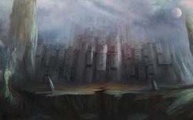 Обои ночь, скала, замок, луна, арт, castle, by cloudminedesign