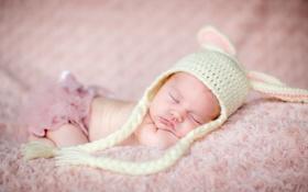 Обои дети, фото, шапка, спит, подушка, младенец