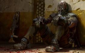 Картинка оружие, кровь, игра, арт, солдат, гильзы, ps3
