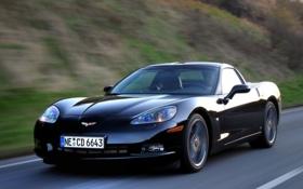Обои Competition, авто, Chevrolet, машина, Corvette, черная