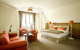 Обои дизайн, спальня, вилла, жилая комната, дом, интерьер, стиль