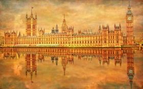 Обои небо, река, часы, Англия, Лондон, башня, Темза