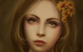 Обои глаза, взгляд, лицо, волосы, арт, художник, цветочки
