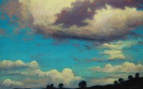 Обои облака, небо, холмы, artsaus, деревья, природа, арт