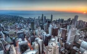 Обои закат, побережье, здания, Чикаго, панорама, Chicago, небоскрёбы