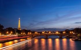 Обои река, мост, вода, блики, Париж
