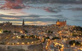 Картинка небо, свет, закат, город, огни, вид, здания