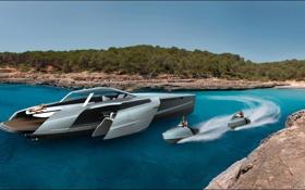 Обои Audi, берег, Ауди, Яхта, концепт, Design Concept, Trimaran