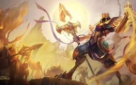 Картинка песок, копье, League Of Legends, Emperor of the Sands, Azir