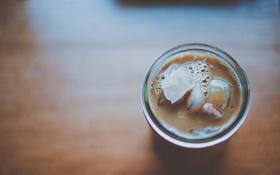 Обои лед, стакан, коктейль
