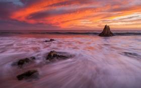 Обои море, пляж, скала, рассвет, побережье