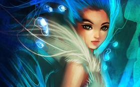 Картинка девушка, пузырьки, абстракция, арт, мех, ryky