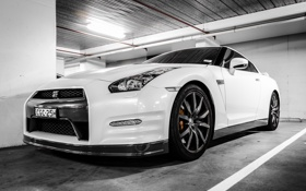 Обои белый, nissan, white, wheels, ниссан, gtr, гтр