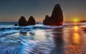 Картинка закат, Тихий океан, Rodeo Beach, длительной экспозиции