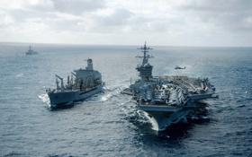 Картинка оружие, корабли, армия, USS Carl Vinson (CVN 70), guided-missile cruiser USS Bunker Hill (CG 52)