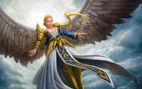 Обои девушка, облака, крылья, ангел, арт, в небе