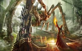 Обои вода, огонь, магия, человек, робот, монстр, паук