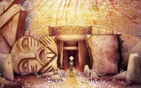 Обои фентези, пещера, мультфильм, тотемы, The Secret of Kells, Тайна Келлс, Брендан