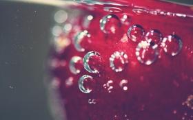 Обои макро, пузырьки, вишня, пузыри, еда, ягода, фрукт