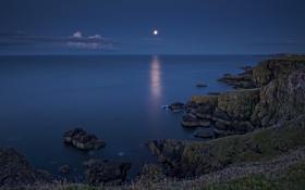 Обои North Sea, скалы, Скоттиш-Бордерс, Санкт-Аббс, Шотландия, водная гладь, Scotland