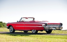 Обои Ford, красный.кабриолет, Гэлэкси, небо, Galaxie, дорога, 1963