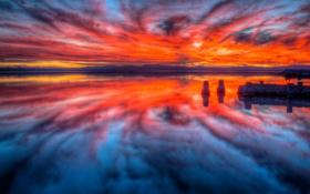 Картинка облака, отражение, небо, море, зарево