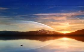 Картинка море, вода, закат, горы