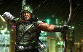 Картинка дождь, лук, арт, капюшон, мужчина, лучник, Green Arrow