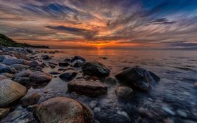 Картинка море, пейзаж, природа, камни, рассвет, берег