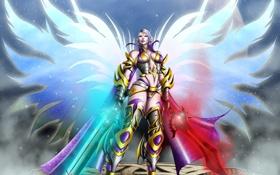 Картинка звезды, планета, Девушка, крылья, доспехи, мечи