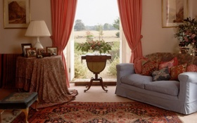 Обои дизайн, дом, стиль, вилла, интерьер, жилая комната, country style