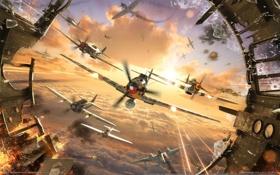 Картинка тучи, осколки, самолеты, битва, выстрелы, в небе, World of Warplanes
