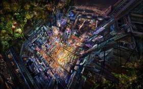 Картинка город, девочка, Donglu Yu