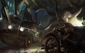 Обои машина, здание, полиция, монстры, Говард Филлипс Лавкрафт, Зов Ктулху