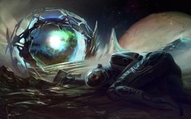 Картинка Портал, космос, скафандр, человек
