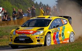 Обои Ford, Авто, Желтый, Форд, Гонка, Капот, Фары