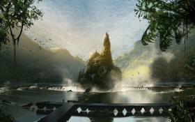 Обои dragon age inquisition, пейзаж, холмы, зелень, озеро, concept art, город