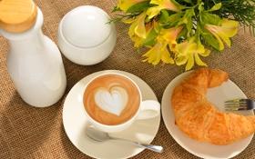 Картинка кофе, еда, завтрак, чашка, капучино, блюдце, выпечка