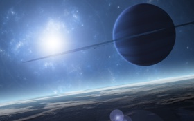 Картинка небо, звезды, поверхность, планеты, кольца, спутники, odarum sistem