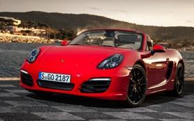 Обои красный, фон, Porsche, суперкар, Порше, передок, Boxster S