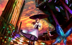 Картинка глаза, облака, девушки, бабочка, зонт, арт, колонны