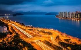 Картинка море, небо, деревья, тучи, огни, дороги, Гонконг